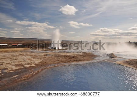 Famous geyser Strokkur erupted, south Iceland