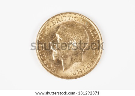 famous gold Sovereign George V - stock photo