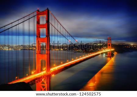 famous Golden Gate Bridge, San Francisco at night, USA - stock photo