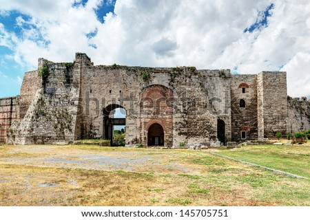 Famous Golden Gate of Constantinople. Inside the Yedikule Fortress in Istanbul, Turkey. - stock photo