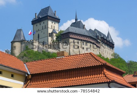 Famous Gothic Karlstejn Castle near Prague, Czech Republic - stock photo