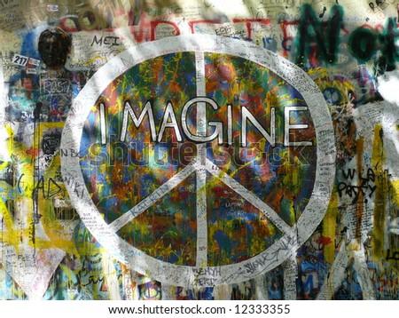 Famous graffitti on John Lennon wall in Prague, Czech. More Prague in my port. - stock photo