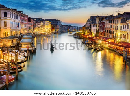 famous grand canale from Rialto Bridge at blue hour, Venice, Italy - stock photo