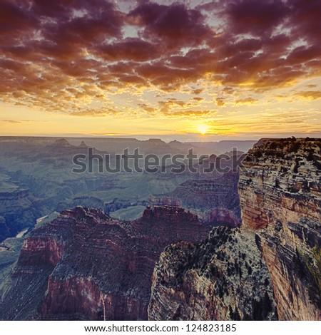 famous Grand Canyon at sunrise, USA - stock photo