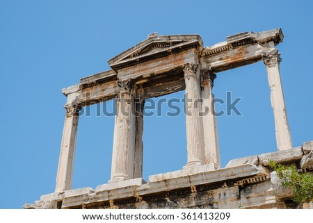 Famous Greek temple against clear blue sky, Acropolis of Athens in Greece