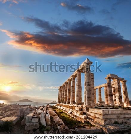 Famous Greek temple Poseidon, Cape Sounion in Greece - stock photo