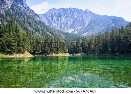 Famous green lake in Styria region of Austria.