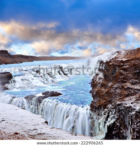 Famous Gulfoss waterfall on the Golden Circle at western side Iceland near Reykjavik - stock photo
