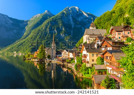 Famous Hallstatt mountain village and alpine lake, Austrian Alps - stock photo