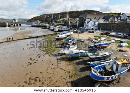 Famous harbor in Conwy in Wales, United Kingdom