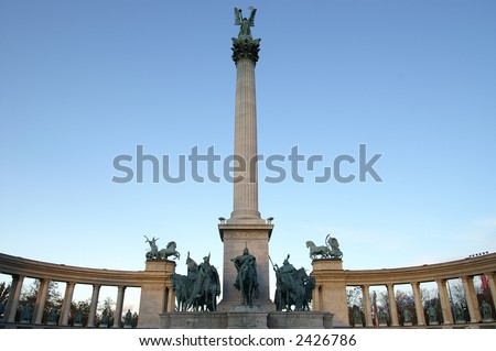famous Heroes Square, Budapest, Hungary - stock photo