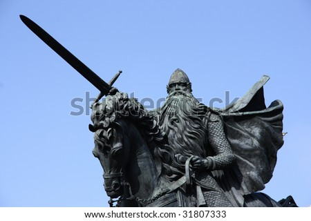 Famous historic hero of Spain: El Cid also known as Rodrigo (or Ruy) Diaz de Vivar. Statue in Burgos town.