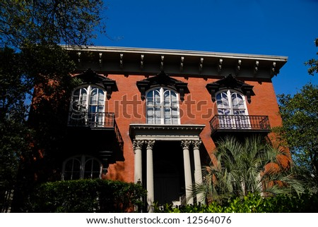 Famous House in Savannah, GA - stock photo