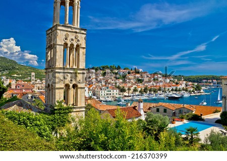 Famous Hvar yachting waterfront view in Dalmatia, Croatia - stock photo