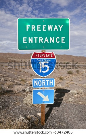 Famous I-15 through the vast Mojave Desert between Los Angeles and Las Vegas. - stock photo