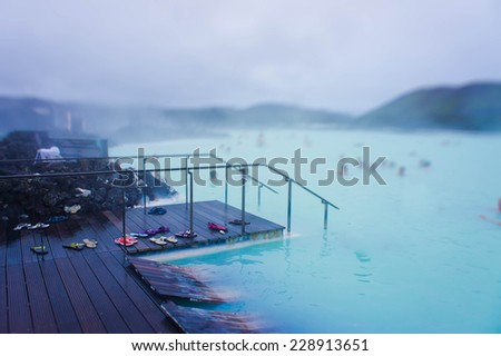 Famous Icelandic Geothermal Spa Resort Blue Lagoon near Reykjavik in Iceland - stock photo