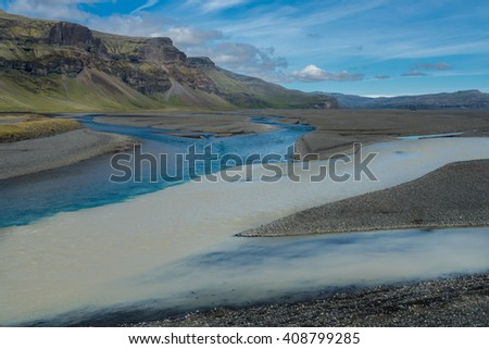 Famous icelandic popular tourist destination and hiking hub in Iceland's highlands landmannalaugar colorful mountains landscape view, South Iceland - stock photo