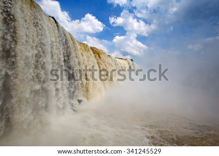 Famous Iguazu falls on the border between Argentina and Brasil - stock photo
