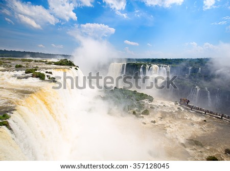 Famous Iguazu falls on the border between Argentina and Brazil - stock photo