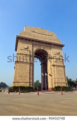famous india gate in Delhi - stock photo