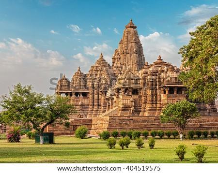 Famous indian Madhya Pradesh tourist landmark - Kandariya Mahadev Temple, Khajuraho, India. Unesco World Heritage Site - stock photo