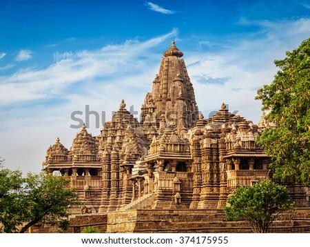 Famous Indian tourist landmark - Kandariya Mahadev Temple, Khajuraho, India. Unesco World Heritage Site - stock photo