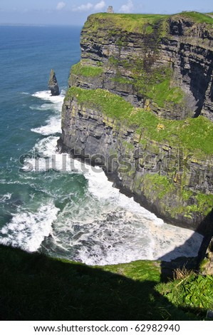 famous irish cliffs moher, largerst cliffs in europe - stock photo