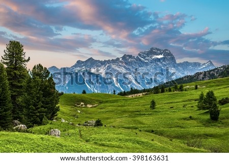 famous Italian Dolomites alps, South Tyrol. Auronzo - stock photo