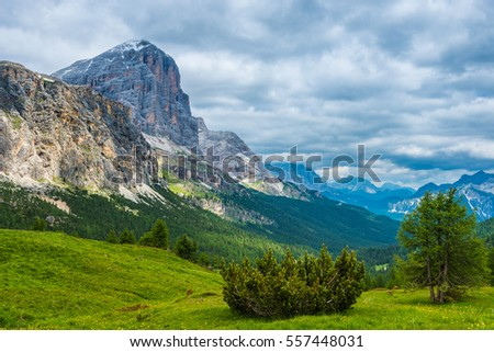 famous Italian Dolomites alps, South Tyrol. Auronzo. view on the Tofana rock