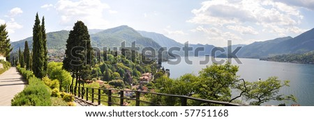 Famous Italian lake Como from Villa Serbelloni - stock photo