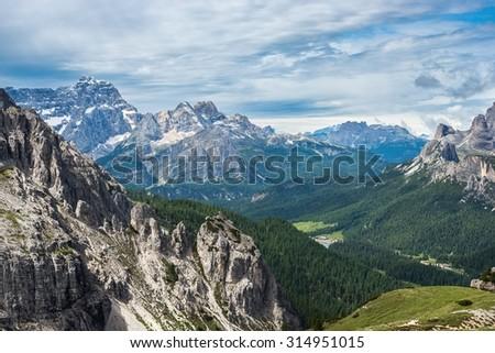 famous Italian National Park Tre Cime di Lavaredo. Dolomites, South Tyrol.  Auronzo - stock photo