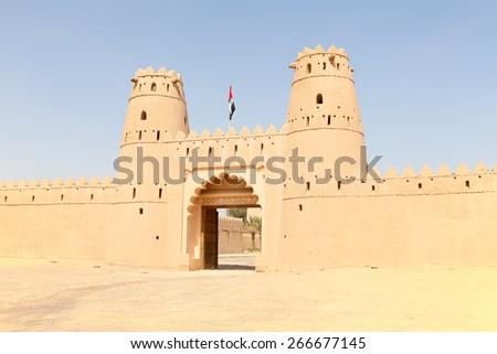 Famous Jahili fort in Al Ain oasis, United Arab Emirates - stock photo