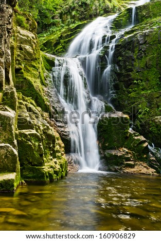 Famous Kamienczyk waterfall in Poland