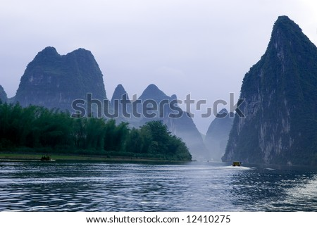 Famous karst mountains at Li river near Yangshuo, Guangxi province, China - stock photo