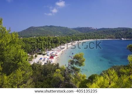 Famous Koukounaries beach at Skiathos island in Greece - stock photo