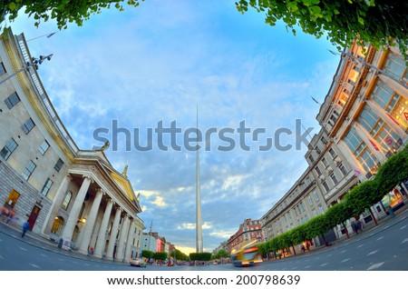 famous landmark in Dublin, Ireland center symbol - spire - stock photo