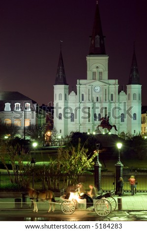 Famous landmark on Jackson square at night, New Orleans - stock photo