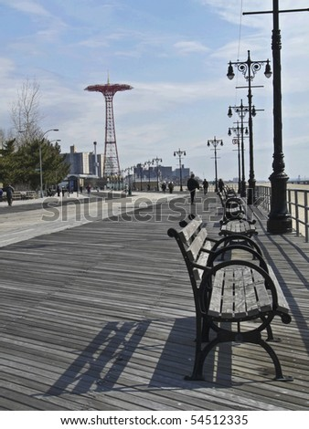 famous landmarked Parachute ride on the boardwalk of Coney Island, NYC - stock photo