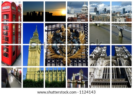 Famous landmarks of London on a huge lattice collage - stock photo