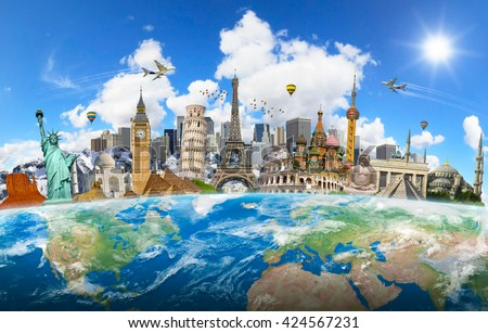 Famous landmarks of the world surrounding planet Earth 'elements of this image furnished by NASA' - stock photo