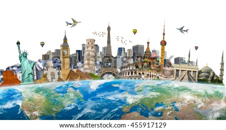 Famous landmarks of the world surrounding planet Earth 'elements of this image furnished by NASA'
