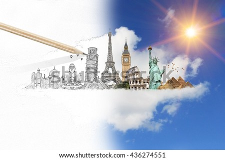 Famous landmarks of the world with hand-drawn effect - stock photo