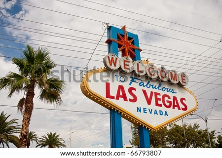 Famous Las Vegas Landmark under wires and clouds