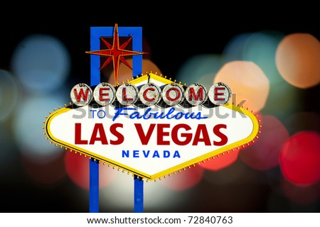 Famous Las Vegas Welcome Sign with bokeh of light in the background