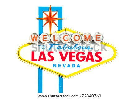 Famous Las Vegas Welcome Sign with white background - stock photo