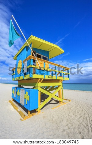 Famous lifeguard house in a typical colorful Art Deco style, Miami Beach - stock photo