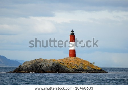 Famous lighthouse on the Beagle Channel This is near Ushuaia, Argentina. Tierra Del Fuego. - stock photo