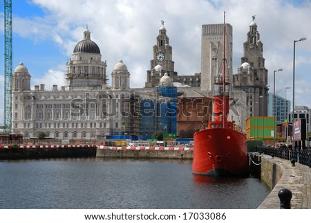 Famous Liver Building, beside Albert Dock in Liverpool, England - stock photo
