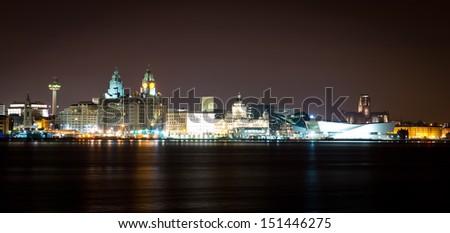 Famous Liverpool City Skyline - stock photo