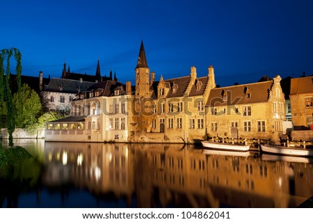 Famous location the Rozenhoedkaai, at night in Bruges, Belgium.